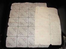 PAIR GENUINE VINTAGE WHITE LACY PLASTIC COATED TABLE PROTECTORS PINK FLOWERS